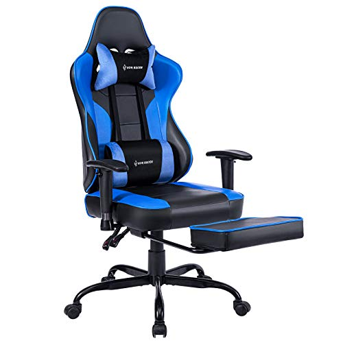 VON RACER Massage Gaming Chair - High Back Racing PC Computer Desk Office Chair Swivel Ergonomic Executive Leather Chair with Footrest and Adjustable Armrests, Blue/Black