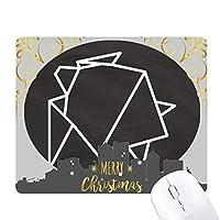 抽象折り紙カメの幾何形状 クリスマスイブのゴムマウスパッド