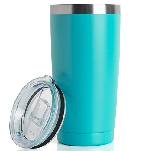 20oz Tumbler Double Wall Vacuum Insulated Coffee Mug Stainless Steel Coffee Cup with Lid, Travel Mug Works Great for Ice Drink, Hot Beverage (1 pack, Turquoise)