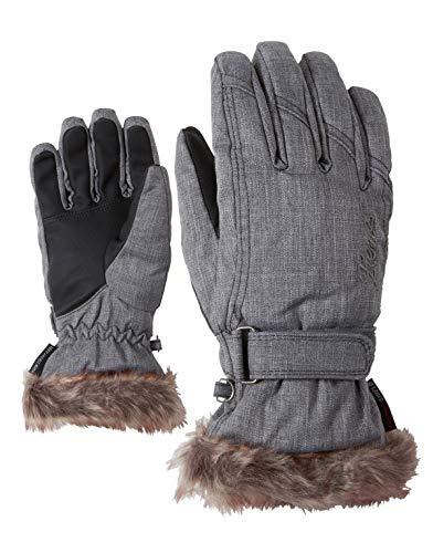 Ziener Damen KIM lady glove Ski-handschuhe / Wintersport |warm, atmungsaktiv, grau (grey melange), 7