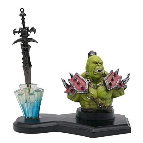 Amont Figura de orco y Espada frostmourne de Warcraft, en Miniatura, réplica no Oficial. Tamaño Total de Espada: 14'5 cm
