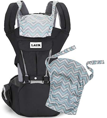 Ergonomische Babytrage Bauchtrage mit Hüftsitz 100% Baumwolle 6 in 1 Verstellbar Abnehmbare Kapuze Einstellbar für Neugeborene und Kleinkinder von 3-48 Monate (3,5 bis 20 kg), Farbe Schwarz