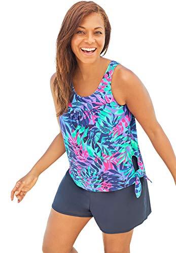 Swimsuits For All Women's Plus Size 2-Piece Blouson Swim Set - 18, Multi Palm Leaf Print