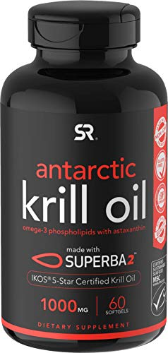 Antarctic Krill Oil (1000mg per Capsule) with Omega-3s EPA & DHA + Astaxanthin | IKOS 5-Star Certified & Non-GMO Verified (60 Softgels)