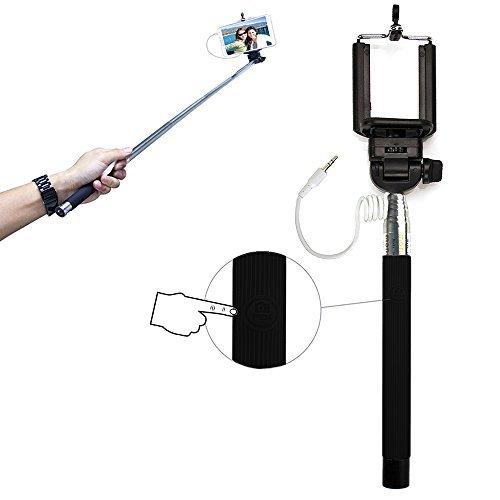 Xtra-Funky Esclusivo pulsante universale gestito bastone Selfie stick monopiede con morsetto regolabile e palo estensibile per Samsung, iPhone, Sony - Nero