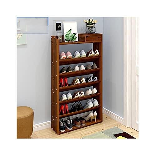 Zapatero de 7 niveles con cajón de madera para zapatos, organizador de almacenamiento de zapatos grande para entrada, pasillo (color: arce rojo, tamaño: 60 cm (7 niveles)