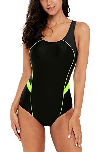 Charmo Sports Figuroptimizer Einteiler Bademode Racing One Piece Badeanzug Schwimmanzug Kontrastfarbe Strandkleid, Schwarz 2, L