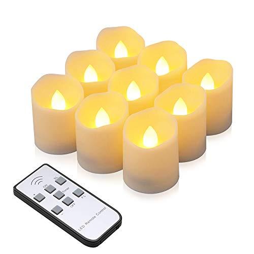 Velas LED, synmixx 9 Ledes Sin llama, Velas Parpadeantes con Mando a...