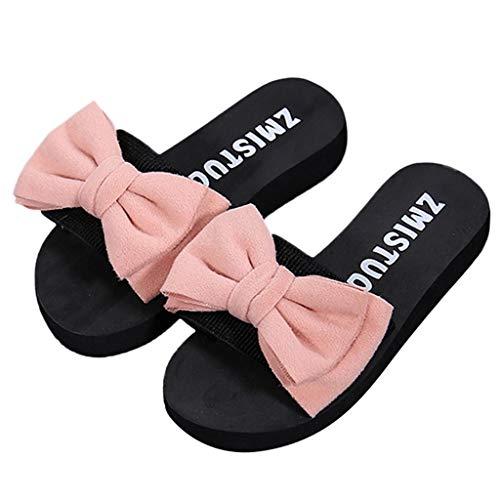 Sandalias Mujer Verano 2019 SHOBDW Chanclas Mujer Zapatos Planos Zapatilla De Verano Con Sandalias De Lazo Chanclas De Interior Al Aire Libre Zapatos De Playa(Rosa,EU38)