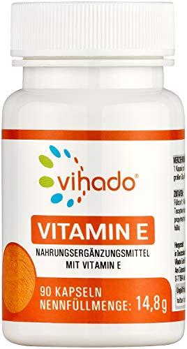 Vihado Vitamin E – veganes Nahrungsergänzungsmittel mit Vitamin E hochdosiert – kontrollierte Qualität aus Deutschland – ohne unerwünschte Zusätze – 90 Kapseln