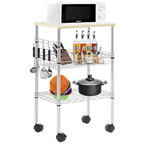Heavy Duty Utility Cart Wire 3 Tier Rolling Cart Organizer NSF Kitchen Cart on Wheels Metal Microwave Cart Large with Wire Shelving and Microwave Table Heavy Duty Commercial Grade, Wood/Chrome