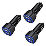Car Charger for iPhone, 3Pack 2.4A Dual Port Fast Charge Car Lighter USB Adapter Car Plug Charger for iPhone 12 11 Pro Max SE XR XS X 8 7 6 Plus, Samsung Galaxy S21 S20 S10 S9 S8 S7 S6 J7, Android,LG