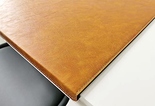 Vade de escritorio inclinado con protector de bordes en piel de Lora 60 x 38, marrón mostaza