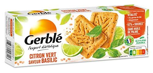 Gerblé Vitalité, Sablés Citron vert Basilic, Allégés en sucres, Sans huile de palme, 1 boîte de 20 biscuits, 200g
