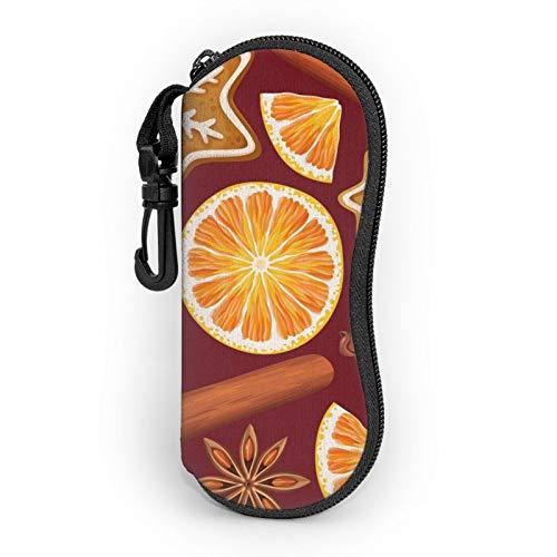 Custodia morbida per occhiali da sole con clip da cintura, spezie, biscotti a glassa, colore arancione, portatile, ultra leggero, in neoprene, con cerniera, per occhiali di sicurezza, per uomo e donna