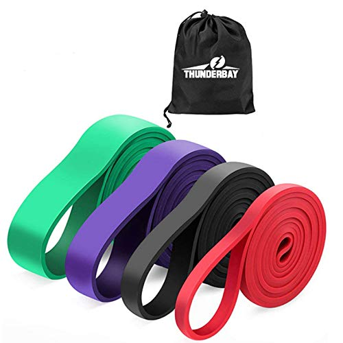 THUNDERBAY Exercise Pull Up Assist Resistance Bands for Body Stretching, Powerlifting, Resistance Training (Set-4)