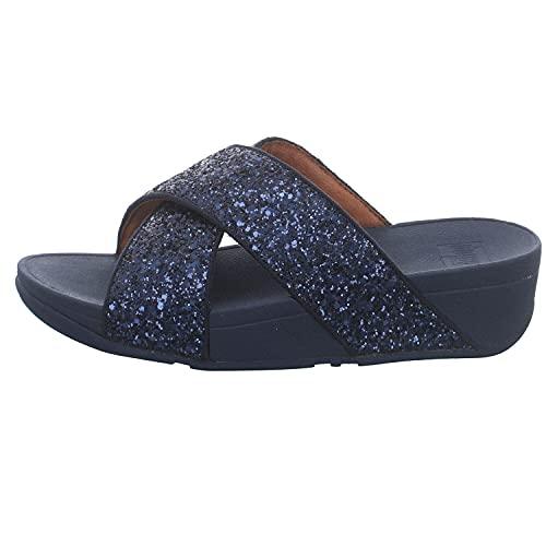 Fitflop Lulu Glitter Slides, Sandali a Punta Aperta Donna, Blu (Midnight Navy 399), 38 EU