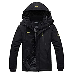Wantdo Men's Mountain Waterproof Ski Jacket Windproof Rain Jacket Winter Warm Hooded Coat