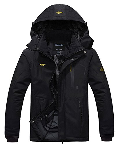Wantdo Men's Mountain Waterproof Ski Jacket Hood Winter Snow Coats Black 3XL