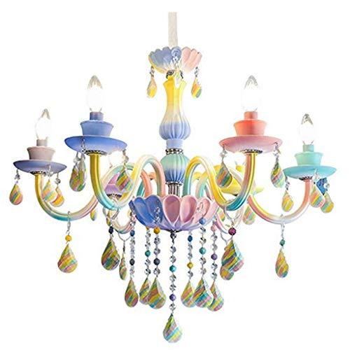 Hanglamp voor kinderen regenboog kristal Europeo kaars restaurant slaapkamer kinderkamer prinses