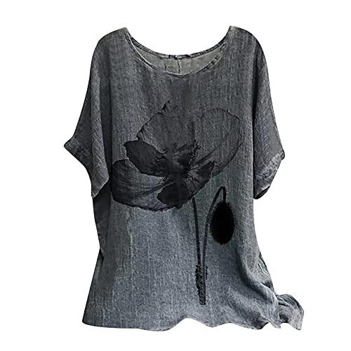 Dasongff Camiseta de manga corta para mujer, estilo informal, tallas grandes, estampada, para verano, tiempo libre, cuello redondo, suelta, túnica, suelta, casual, suéter, blusa