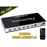 BLUPOW 4K30Hz HDMIマトリックス セレクター 4入力2出力 + 音声分離(光デジタル・3.5mmステレオ音声出力) hdmi1.4 hdcp1.4 ARC対応 異なる解像度出力可能・ダウンスケール機能搭載 HDMI切替 分配器 スプリッター VA92