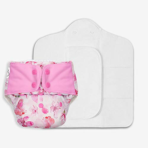 SuperBottoms Freesize UNO - Washable & Reusable Cloth Diaper containing 1 Waterproof Outer + 1 Organic Cotton Dry Feel pad +1 Booster pad [Day & Night Use] (for Babies 5kg- 17kg) (Cherry Blossom) (Baby Product)