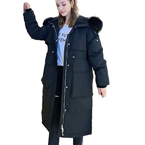 ZZCLOTH Cappotti Invernali Caldi con Cappuccio da Donna Parka Foderato in Piumino D'Anatra Bianco Giacche Lunghe,Black-S
