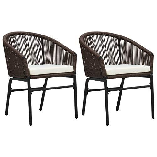 Gartenstühle 2 STK. Braun PVC Rattan für Garten, und am Pool Balkon & Terrasse, Gartenstuhl.