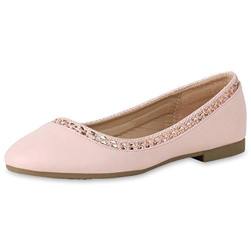 SCARPE VITA Klassische Damen Ballerinas Glitzer Strass Slipper Slip Ons Schuhe 156563 Rosa Glitzer 36
