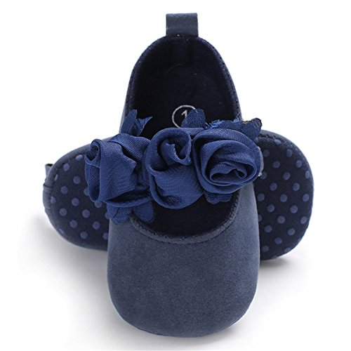 BENHERO Baby Infant Girls Soft Sole Floral Princess Mary Jane Shoes Prewalker Wedding Dress Shoes (6-12 Months Infant), Navy