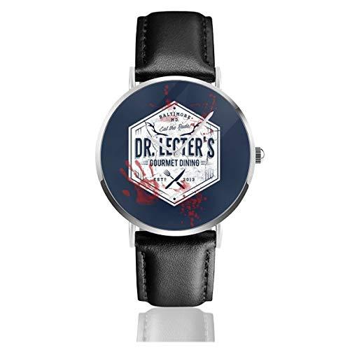 Unisex Business Casual Dr. Lecters Gourmet Dining Hannibal weiße Uhren Quarzuhr Lederarmband mit schwarzem Lederband für Männer und Frauen Young Collection Geschenk