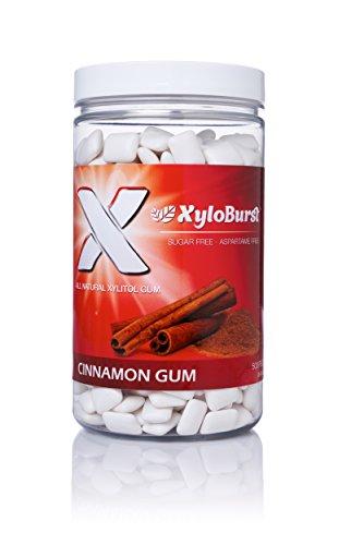 Focus Nutrition, XyloBurst 100% Xylitol Gum, Cinnamon Gum, 500 Count Jar, Natural Chewing Gum, Non GMO, Vegan, Aspartame Free, Sugar Free