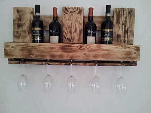 """Weinregal Palettenmöbel """"Foggia"""" aus Paletten Weinregal, Küchenregal, Gewürzregal mit Glashalter Handgefertigt"""