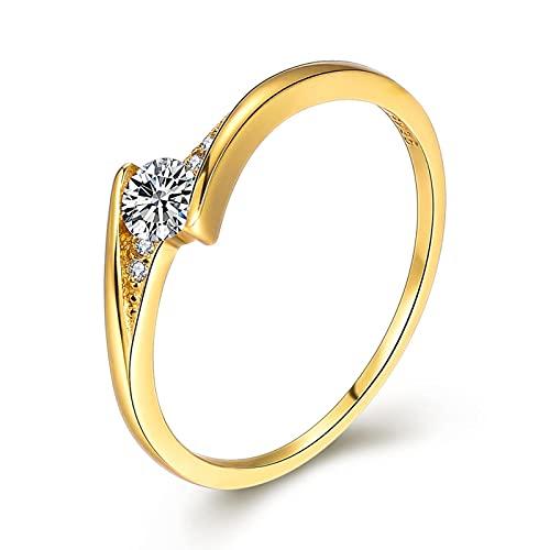 Anillo de plata pura anillo de diamantes de circonio