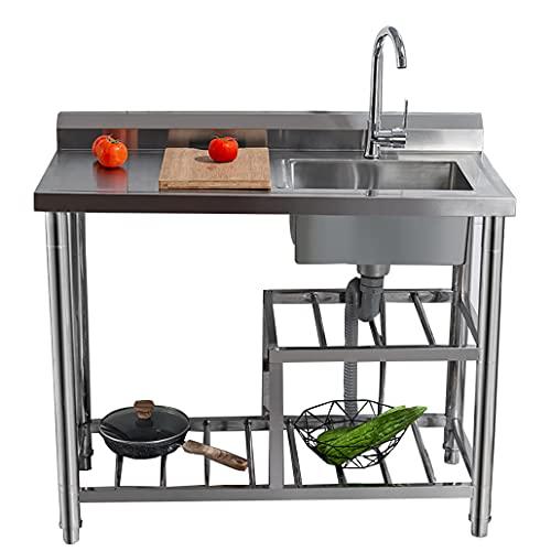 JPSHBA Cocina Comercial,Lavabo Acero Inoxidable con Mesa de Trabajo Estante de Almacenamiento Restaurante Robusto higiénico para Patio balcón Camping al Aire Libre etc