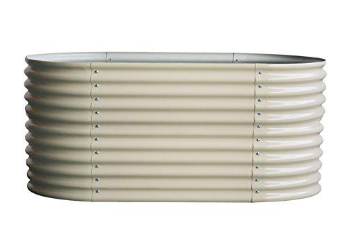 yayago 1A Exeta Hochbeet, Kräuterbeet (Model 2020), oval, 82 x 240 x 80 cm, aus verzinktem Stahlblech, Anti-ROST-BESCHICHTET