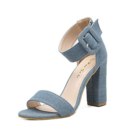 Womens Block Hoge Hakken, Met Enkelband Buckle Sexy Open Teen Casual Shoe Sandalen Kleding Sandals Size 2 3 4 5 6 7,Blue,38EU