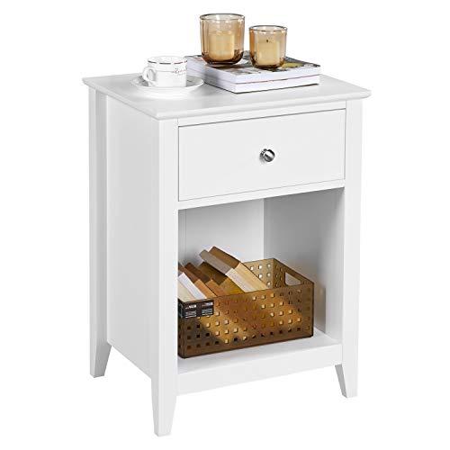 Yaheetech Nachtschrank, Nachttisch mit Schublade und Offenem Fach, Nachtkommode mit Beinen, Beistelltisch, Sofatisch, Holz, Weiß, 45x35x61cm(BxTxH)