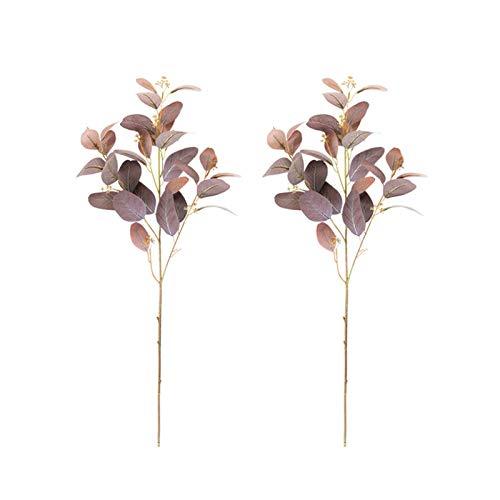 Artificial Eucalyptus Stems 2pcs,Faux Plants Silk Eucalyptus Leaves,Artificial Plants Fake Plant For Garden Flower Arrangement Crafts Backdrop Decor-Grey pink 69cm