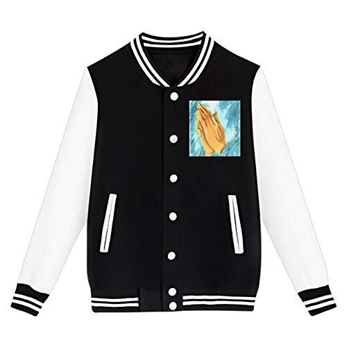Praying Hand Junior Long Sleeve Plus Velvet Baseball Uniform Children's Jacket Sports Jacket Unisex Black M