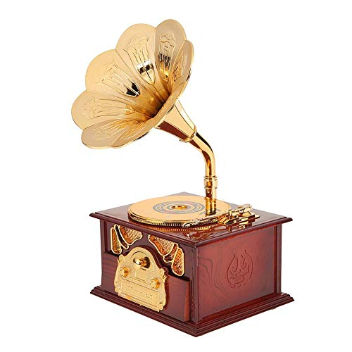 Caixa de música criativa clássica para fonógrafo de metal de madeira antiga, Burgundy, one size
