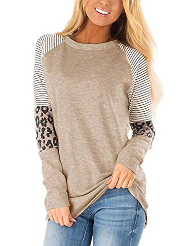 MOPOOGOSS Women Long Sleeve Loose Fit Shirts Round Neck Leopard Sleeve Color Block Casual Tops Tshirt Khaki Large
