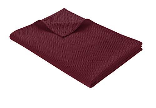 WOHNWOHL Tagesdecke 150 x 200 cm • Waffelpique leichte Sommerdecke aus 100prozent Baumwolle • Luftige Sofa-Decke vielseitig einsetzbar • Leicht zu pflegene Wohndecke • Baumwolldecke Farbe: Mahagony