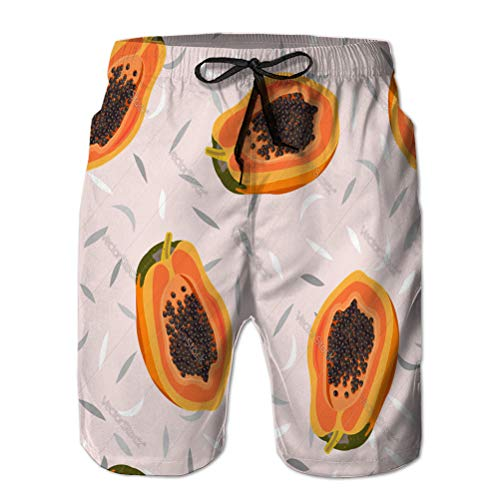 Yuerb Performance Boardshorts Men's Casual Shorts Papaya Fruits Seamless Pattern on pa
