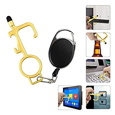 Non Contact Door Opener with Retractable Keychain, Gold No Touch Door Opener with Stylus Multitool Safe Touch Tool, Hands Free Clean Key for Touchscreen, Handle, Buttons in Public