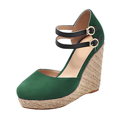 Dorical Damen Espadrilles,Basic Closed Toe Geschlossene Sandalen mit Keilabsatz Double Schnalle für Mutter 35-43 EU(Grün,39 EU)