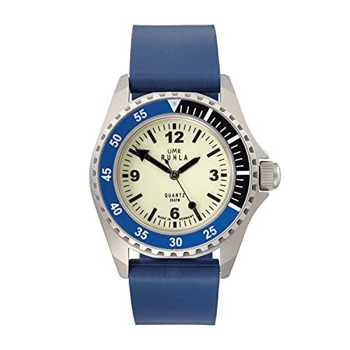 Reloj Manufaktur Ruhla - Reloj de natación (cuarzo, carcasa de acero inoxidable, cristal mineral, correa de caucho, 20 bares)