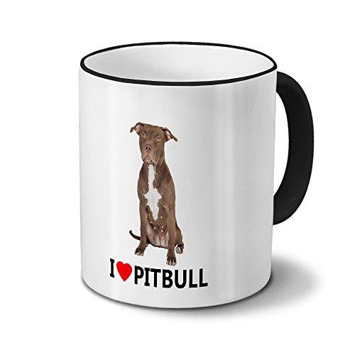 printplanet Hundetasse Pitbull - Tasse mit Hundebild Pitbull - Becher, Kaffeetasse, Kaffeebecher, Mug - Schwarz