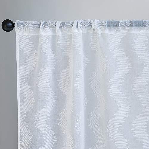 Jola's House Tier Curtains Kitchen Cafe Bathroom Window Curtain Panels, Wave Shape Jacquard Texture Off White Semi Sheer Rod Pocket (W34 x L36 Inch, 2 Panels)